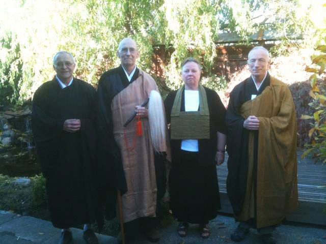 Left to right: Ken Sawyer, Abbot Steve, Elizabeth Sawyer, Steve Weintraub